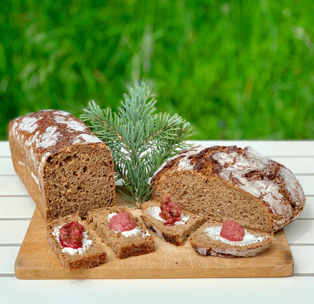 Fresh Rye Bread with Blue Spruce Flower Jam